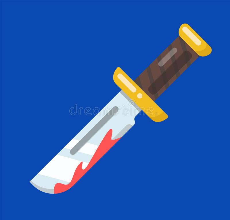 Image of a knife with blood on the blade. vector illustration