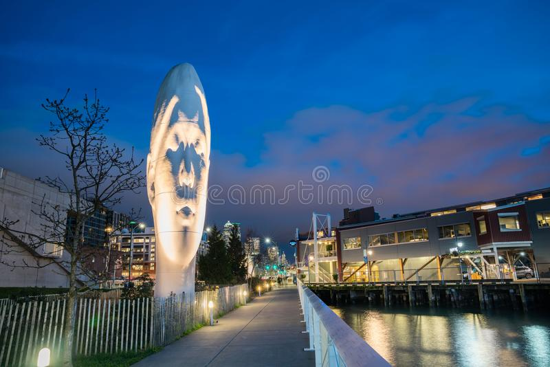 ECHO, sculpture created by Jaume Plensa on Seattle Waterfront royalty free stock photography