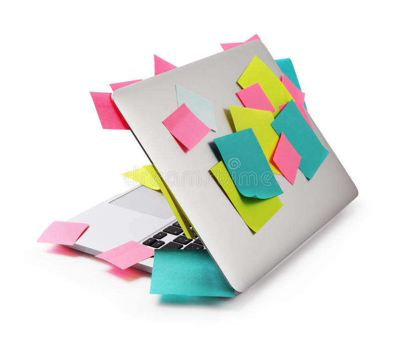 Image of laptop full of colorful sticky notes reminders isolated royalty free stock photos