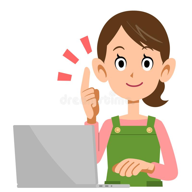 A laptop and a housewife to explain the main points. The image of A laptop and a housewife to explain the main points royalty free illustration