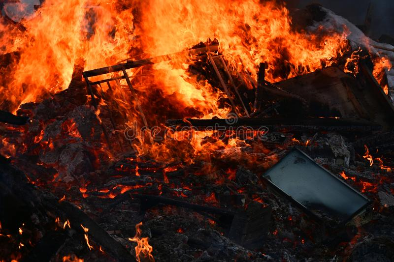 Large and Dangerous Fire Close Up stock image