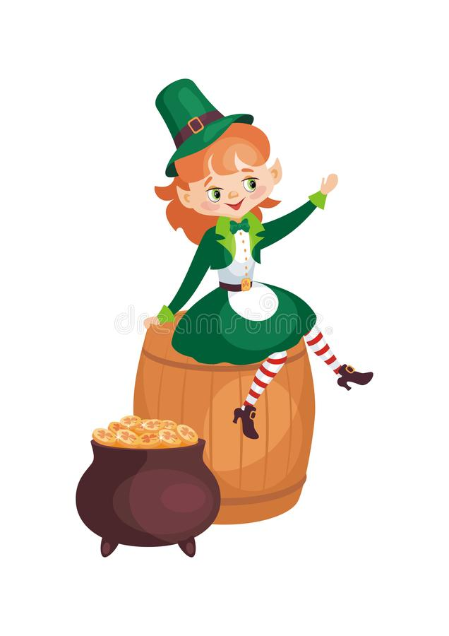 Patricks Day illustration with leprechaun girl royalty free illustration