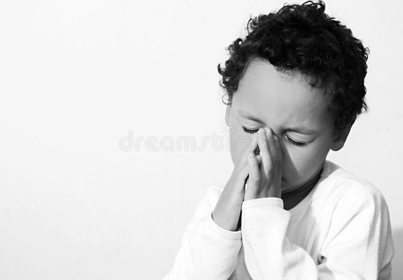 Little boy praying with his hands clenched together royalty free stock images