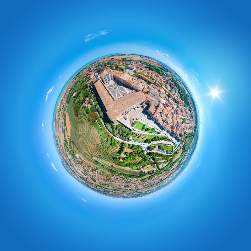 Little planet Basilica della Santa Casa Loreto Italy. An image of a little planet Basilica della Santa Casa Loreto Italy stock images