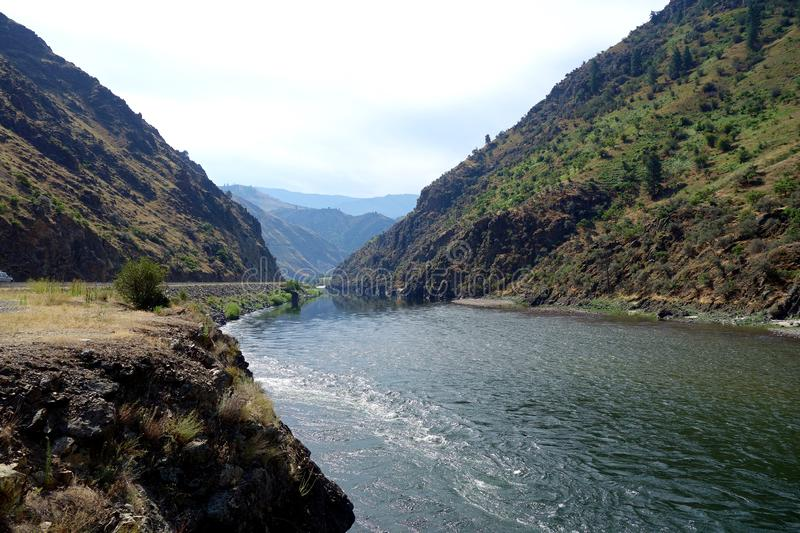 Salmon River in Idaho Payette National Forest. An image looking down the large ravine of the Salmon River in Central Idaho looking out toward the mountains of royalty free stock images