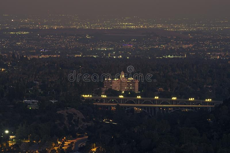 Courthouse and Colorado Street Bridge Pasadena. Image looking south of the San Gabriel Valley in Southern California showing the  Richard H Chambers Court of royalty free stock photo