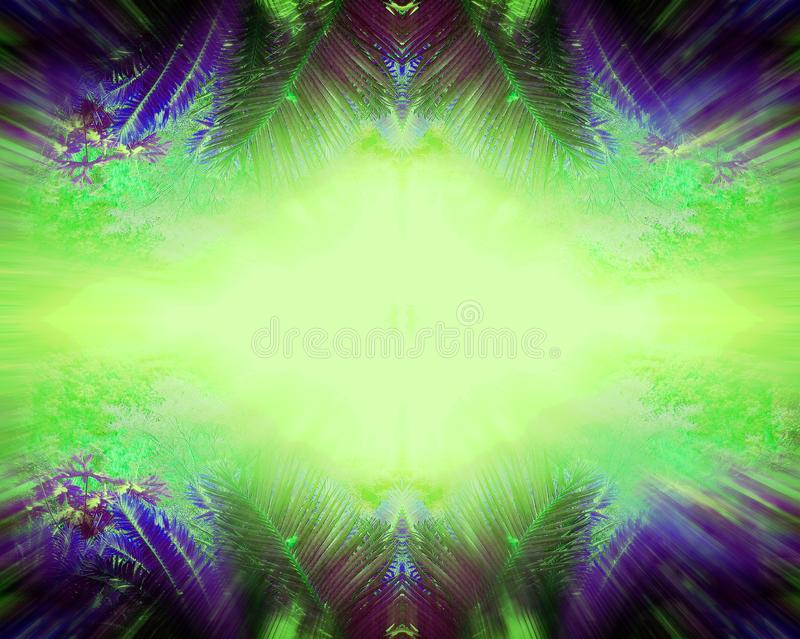 ZOOM BLUR EFFECT ON TROPICAL LEAVES WITH PALE GRADIENT CENTRE IN GREEN AND PURPLE royalty free stock image