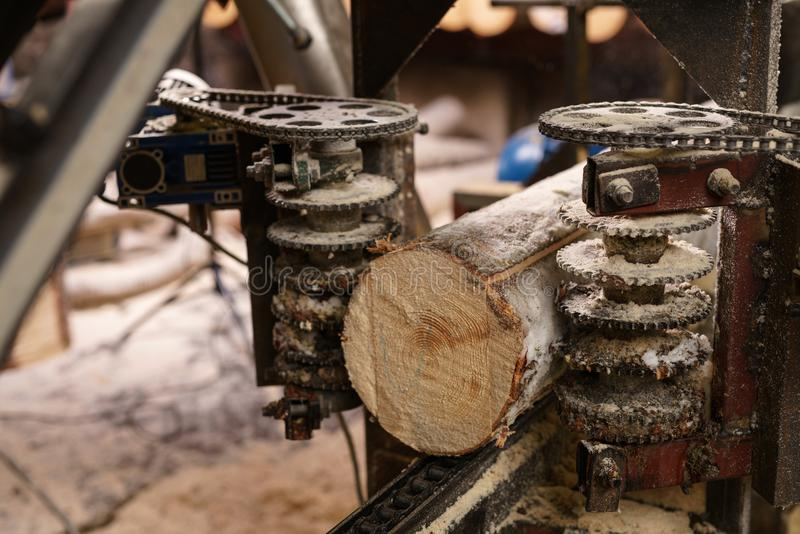 Image of machine for sawing wood at sawmill royalty free stock photo