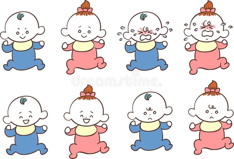Male and female baby Various facial expressions and poses. The image of male and female babies Various facial expressions and poses stock illustration