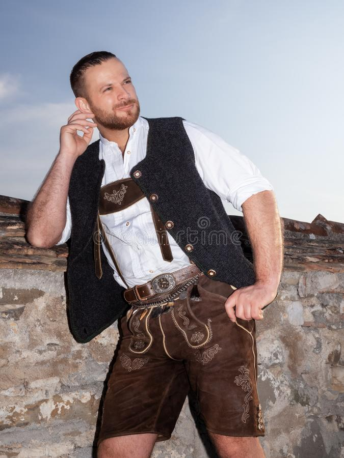 A man in bavarian traditional cloth stock photos