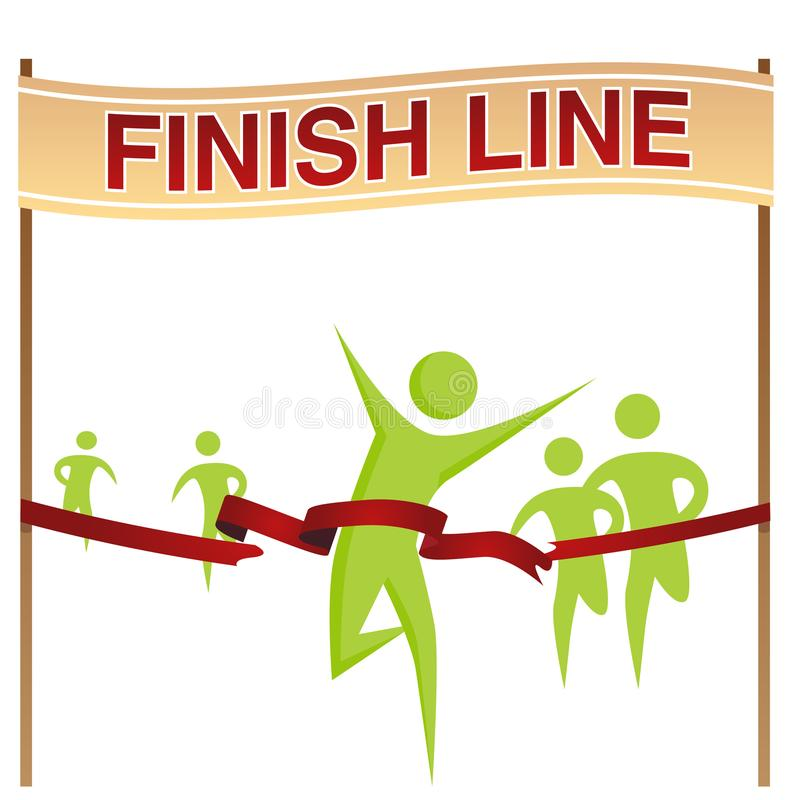 Man Running Across Finish Line. An image of a Man Running Across Finish Line royalty free illustration