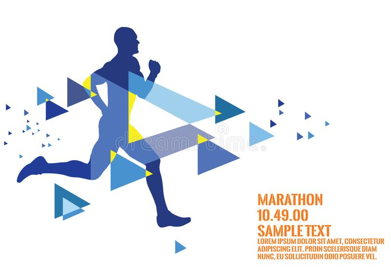 An image of a man running a marathon art work royalty free stock images