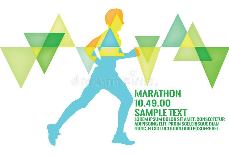 An image of a man running a marathon art work stock photo