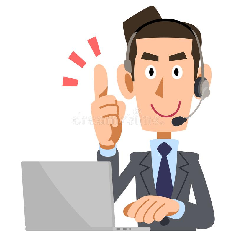 A man wearing a headset to explain. The image of A man wearing a headset to explain, and standing his index finger stock illustration