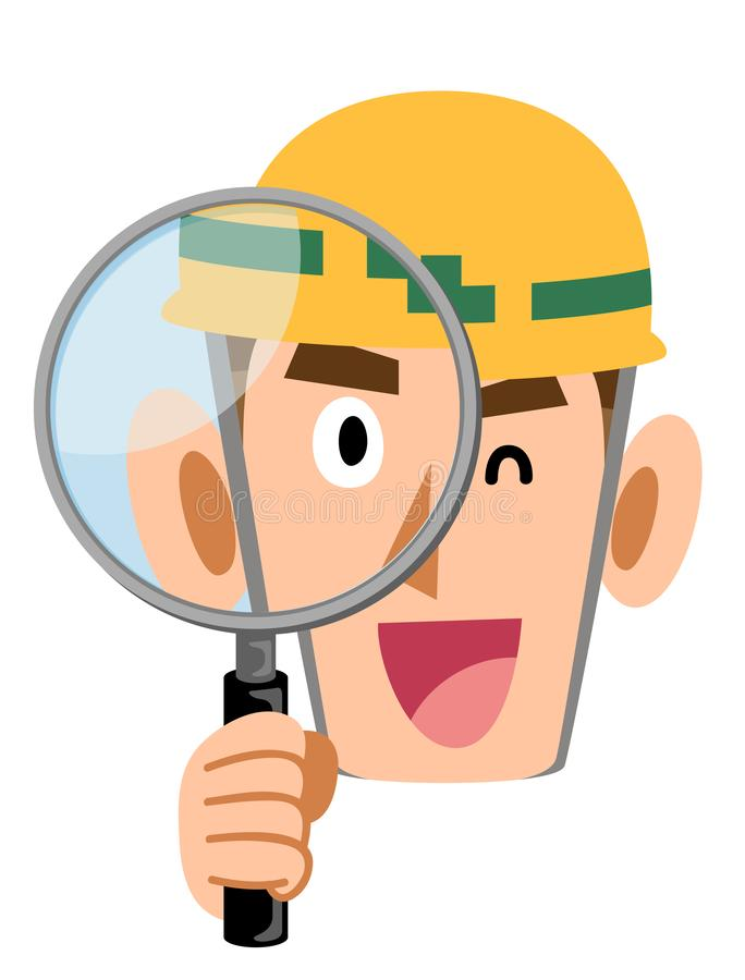 A man wearing a helmet, construction site, looking through a magnifying glass and smiling. The image of A man wearing a helmet, construction site, looking royalty free illustration