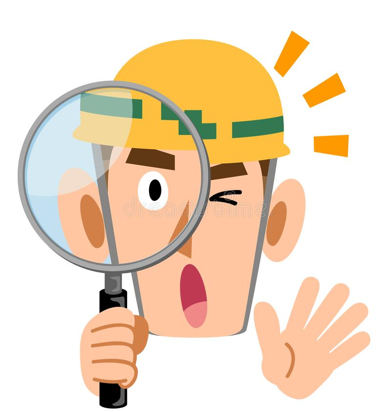 Man wearing helmet at construction site, surprised by looking through magnifying glass. The image of a Man wearing helmet at construction site, surprised by stock illustration
