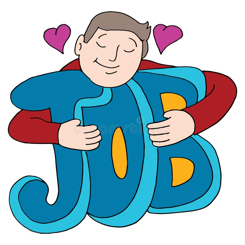 Man Loves His Job Hugging Text. An image of a man who loves his job hugging text royalty free illustration