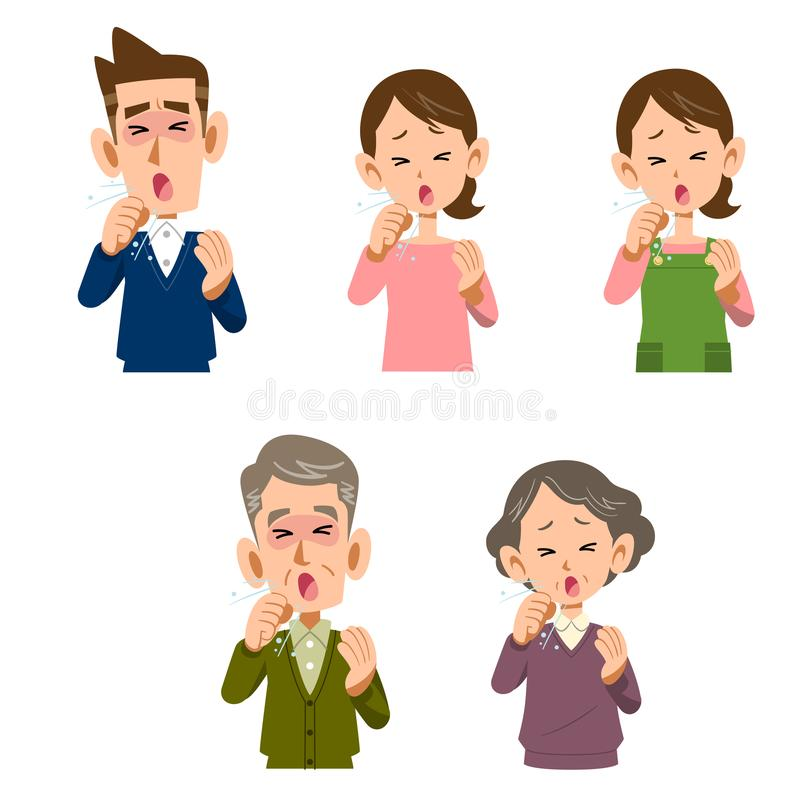 Men and women who cough. The image of Men and women who cough, young and senior generations vector illustration