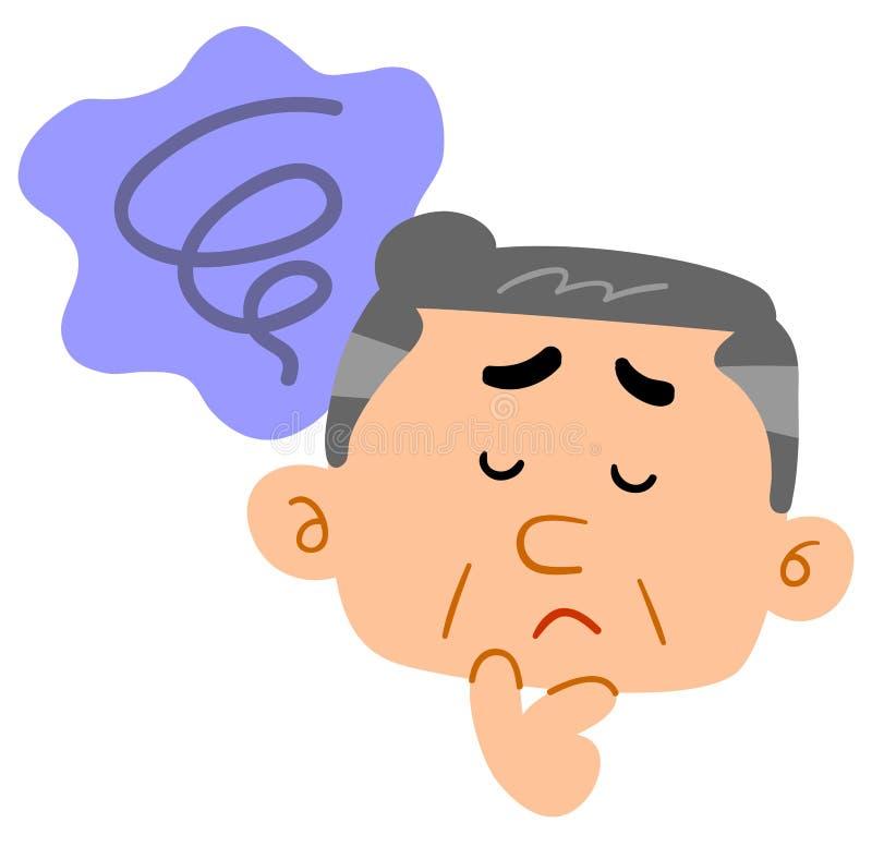 Middle-aged man unsettling, depressed, melancholy. The image of a Middle-aged man unsettling, depressed, melancholy royalty free illustration