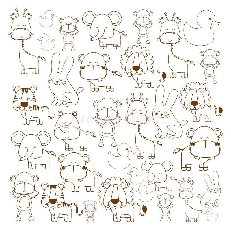 Image mignonne assortie d'animaux illustration stock
