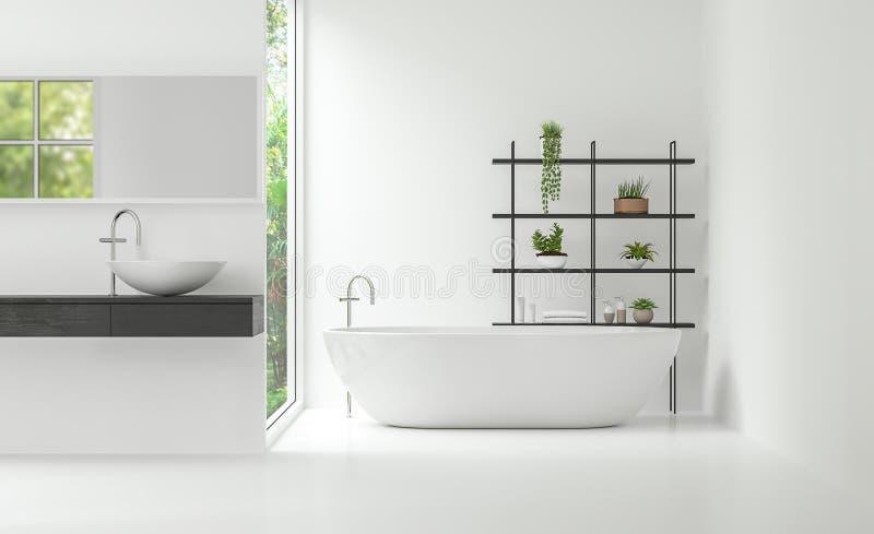Image minimale intérieure de rendu du style 3d de salle de bains blanche moderne illustration de vecteur