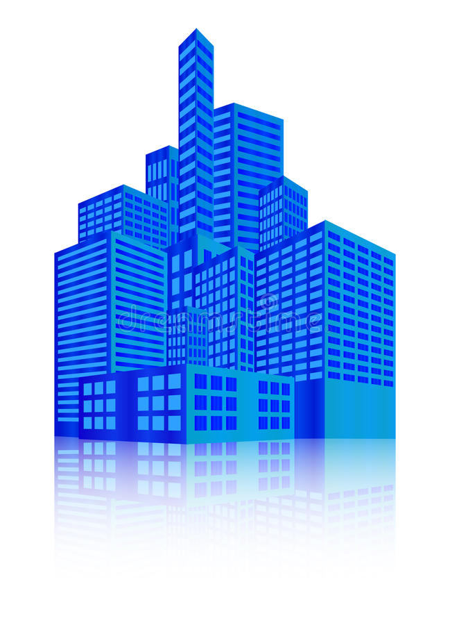 Image of modern building, Urban cityscape, City Lights, metropolis. Vector illustration isolated on white background. royalty free illustration