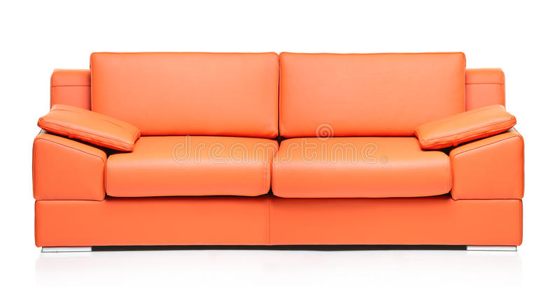 Download Image Of A Modern Orange Leather Sofa Stock Image   Image Of  Indoor, Cushion