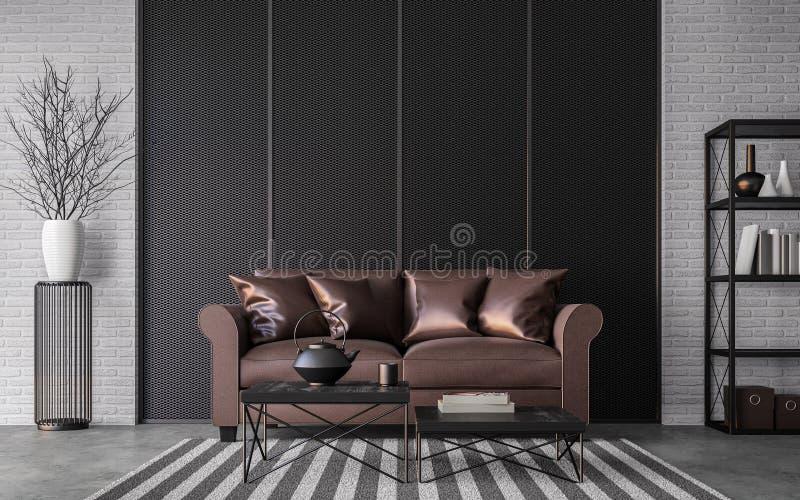Image moderne de rendu du salon 3d de grenier illustration de vecteur