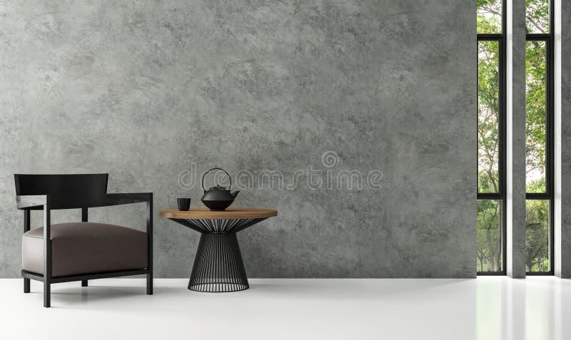 Image moderne de rendu du salon 3d de grenier illustration libre de droits