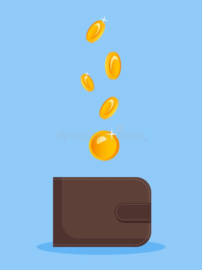 The image of money falling into a purse. Flat vector image on a blue background. Funding, monat, idea for advertising vector illustration