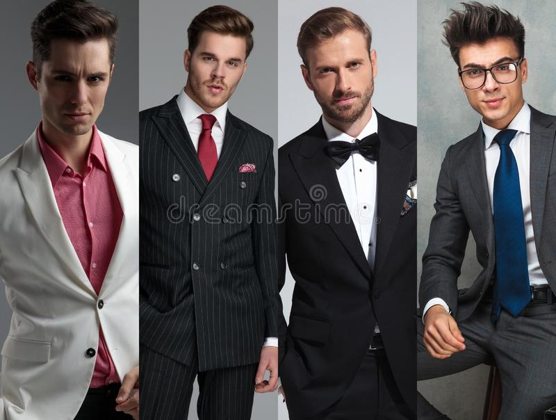 Image montage of young casual men posing stock photography