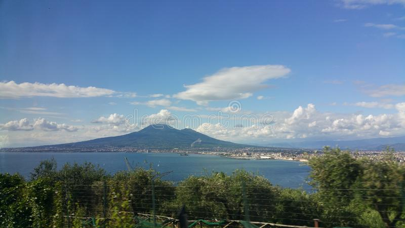 This is an image of Mt. Vesuvius in the Campania region of Italy. Mt. Vesuvius is the volcano which erupted and buried the city of Pompeii under its molten royalty free stock photo