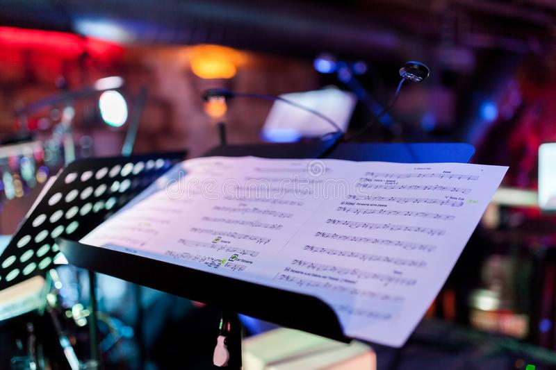 The image of the music stand after the concert. royalty free stock photography