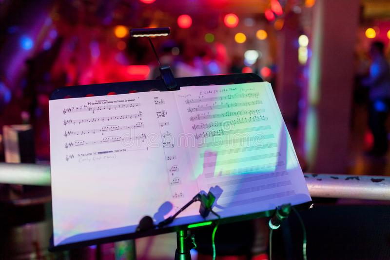 The image of the music stand after the concert. royalty free stock images