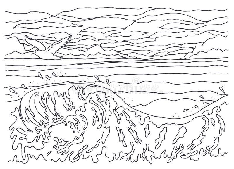 Template For Coloring. Landscape Painting. Sea, Waves ...