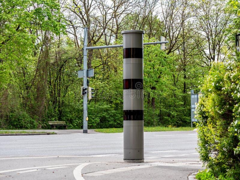 Image of new radar trap or speed trap, German Radarfalle, in German city traffic stock images
