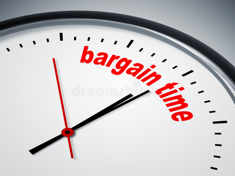 Bargain time. An image of a nice clock with bargain time vector illustration
