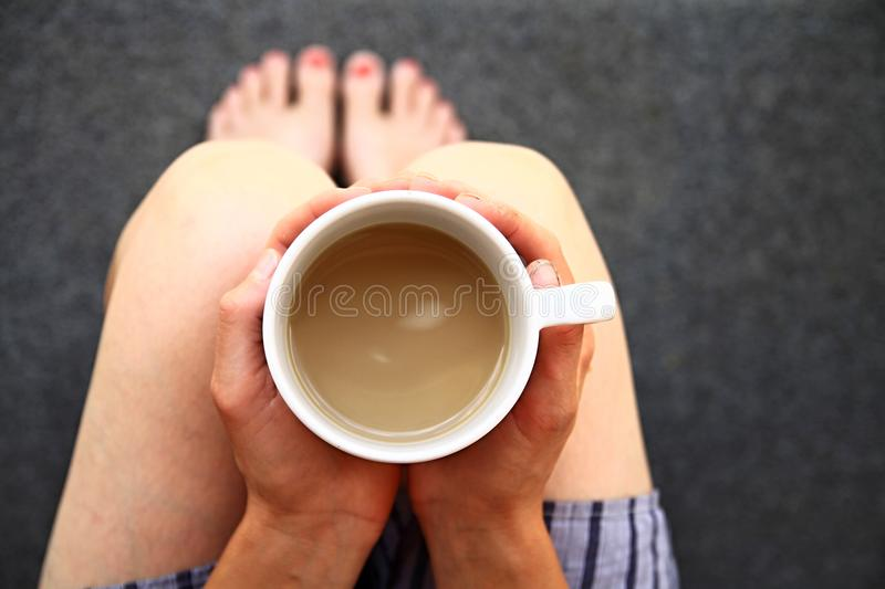 Nice cup of coffee on summers day stock photo