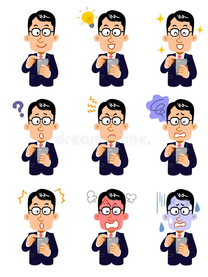 Nine facial expressions of a businessman wearing glasses who operate a smartphone stock illustration