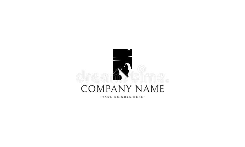 Image noire de logo de vecteur de montagne illustration de vecteur
