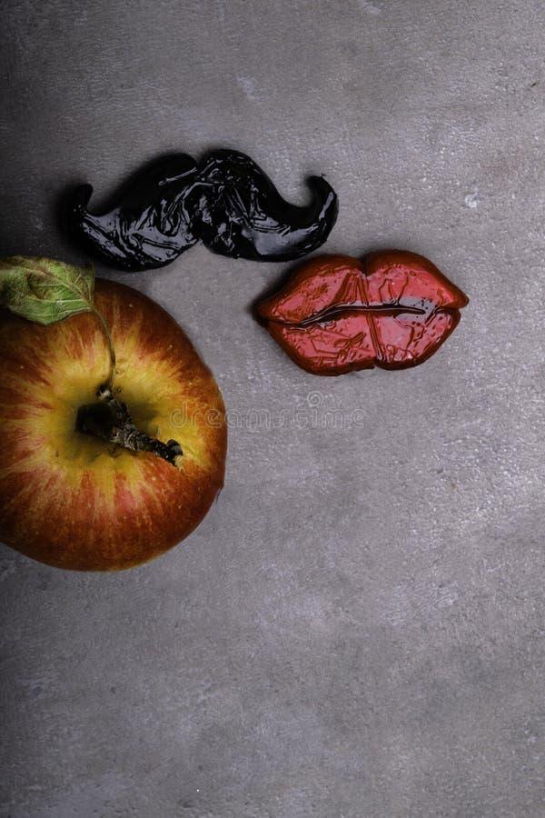 image noire de moustache Adam, Ève et la pomme interdite image stock