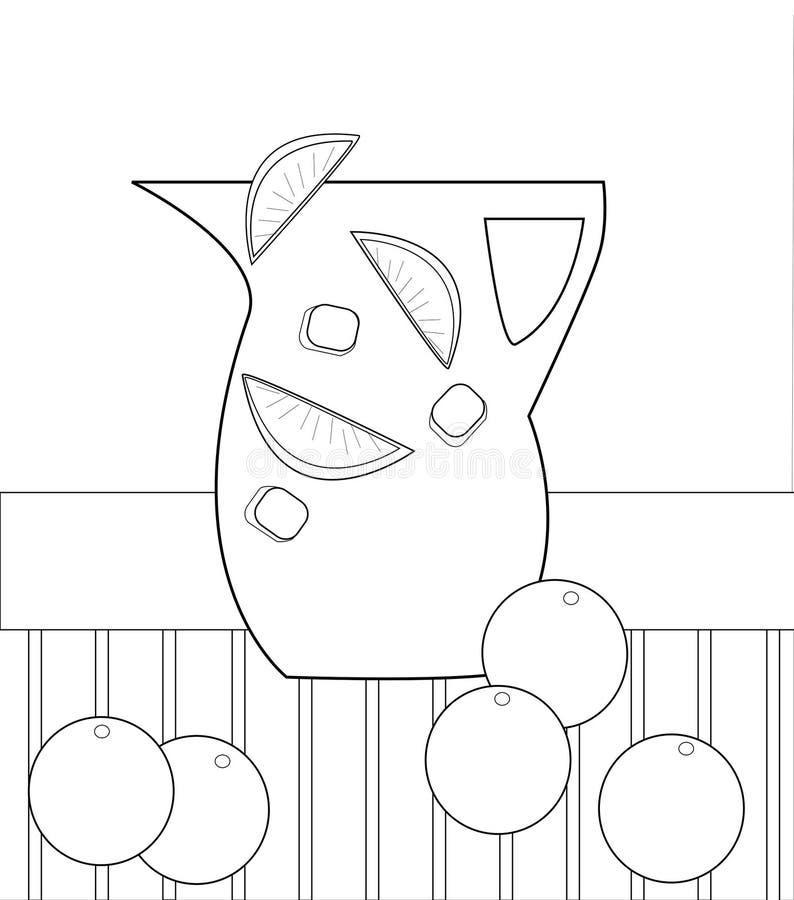 Image noire et blanche de broc avec des citrons et des glaçons illustration libre de droits