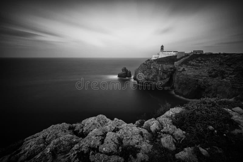 Image noire et blanche de phare au cap St Vincent images libres de droits