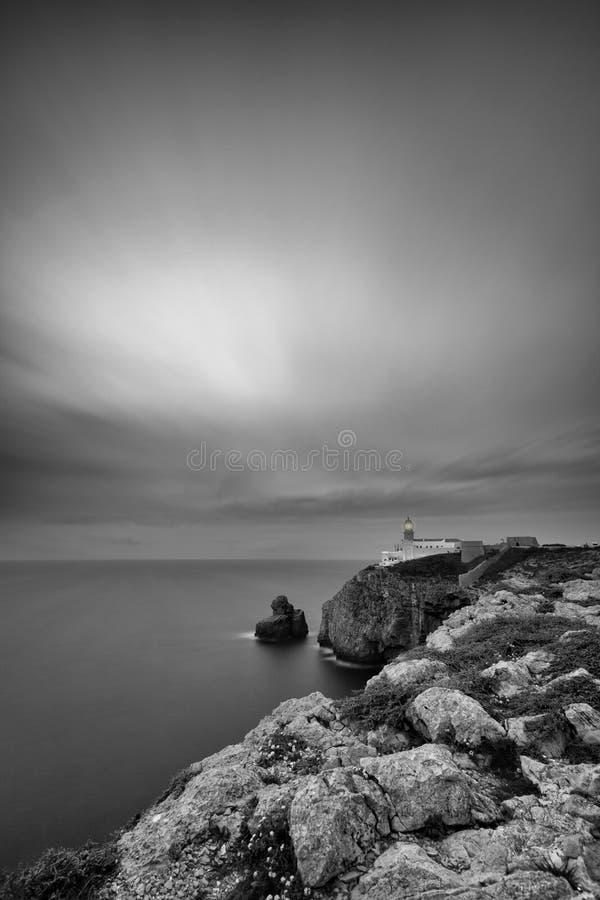 Image noire et blanche de phare au cap St Vincent image stock