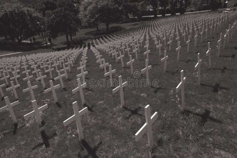 Image noire et blanche des croix blanches dans un domaine photos libres de droits