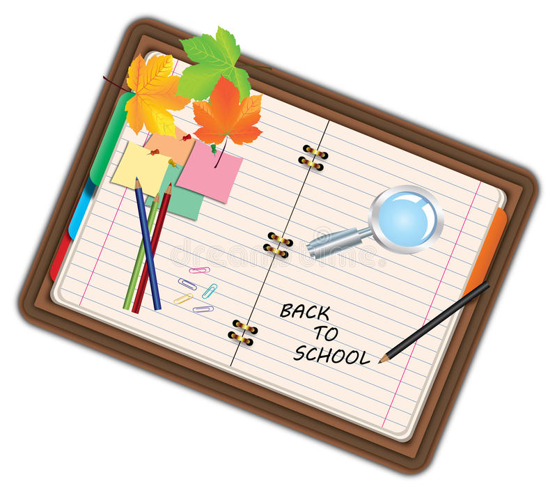 Image of notebook, pocketbook, diary with sign back to school and school supplies, equipment, accessories, items, tools. Cartoon i stock illustration