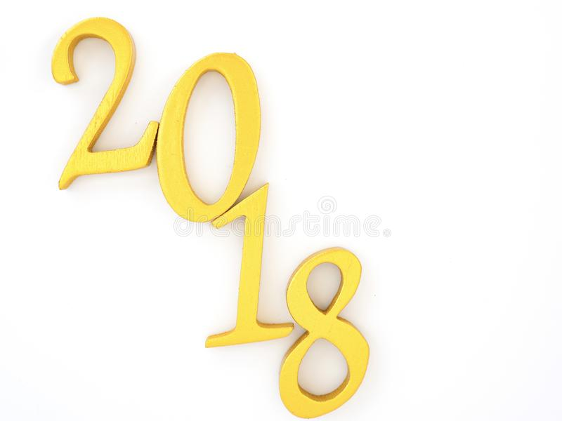 Number 2018 in gold. An image of number 2018 in gold on white background, symbolizing auspicious new year 2018 royalty free stock image