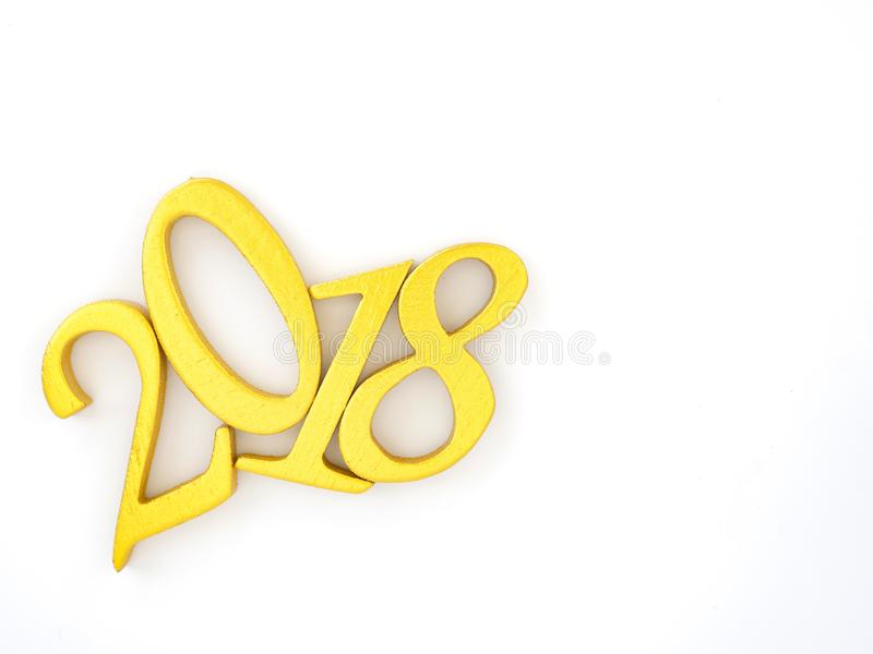 Number 2018 in gold. An image of number 2018 in gold on white background, symbolizing auspicious new year 2018 stock images