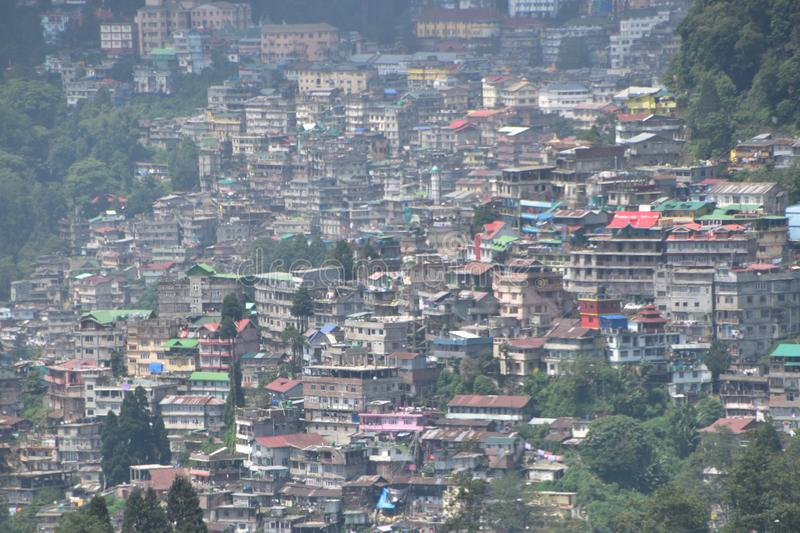Full city view of the darjeeling india. This is the image o the full city view from batasia loop  the darjeeling india stock photography