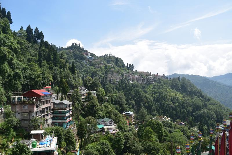 Full view of the batasia loop darjeeling india. This is the image o the full city view from batasia loop  the darjeeling india royalty free stock image